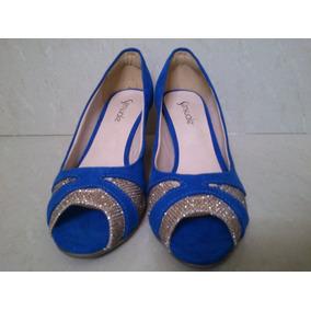 Peep Toe Azul Com Dourado Sensuale