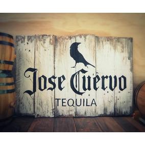 Tequila Cuervo, Anuncio Rustico Vintage En Madera Reciclada