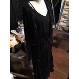 Vestido Antiguo Negro Bordado A Mano