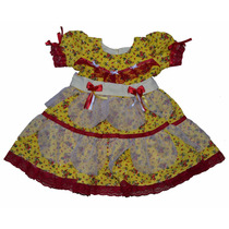 Vestido Infantil Festa Junina Caipira Luxo Amarelo