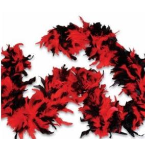 Rojo Y Negro Bufanda De Plumas