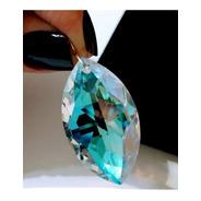 Pingente Gota 4,0 Cm Cristal Swarovski Blue Boreal Prata 925