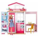 Casa Glam Barbie De 2 Piesos Con Muñeca Dvv48
