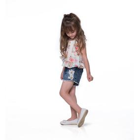 Conjunto Infantil Roupa Menina Short Jeans Gabriela Aquarela