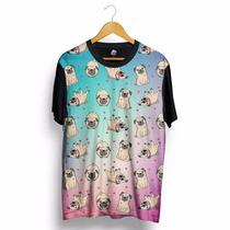 Camiseta Cachorro Cão Pug Personalizada Estampada Preta Swag