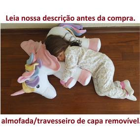 Almofada Unicórnio Amamentação Pelúcia 65 Cm Bebê 2 Partes