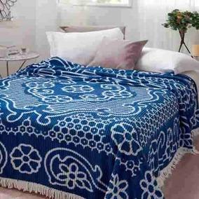 Colcha Chenille Jolitex Canelada Casal Bruna Azul