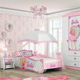 Cama Infantil Com Dossel Teto Barbie Star Pura Magia Rosa Wt