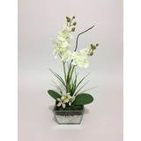 Arranjo De Orquídea Artificial Branco No Vidro