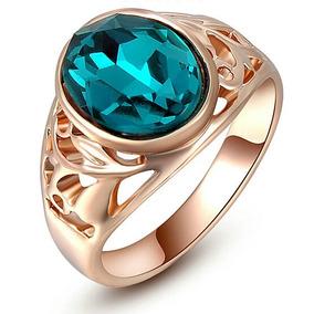 Anel Aliança Dourada Pedra Esmeralda Formatura Feminino