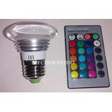 Lampara Dicroica Led 3w Rgb Control Remoto 16 Colores E27