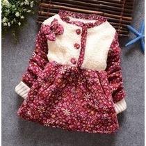 Vestido Infantil Inverno Forrado Pelinhos Festa Quentinho