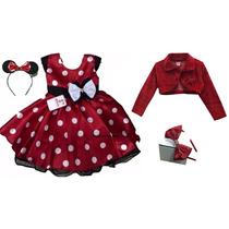 Vestido Minnie Vermelho Infantil Luxo 2 Tiaras E Bolero 1-3
