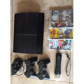 Playstation 3 Slim + 5 Juegos + 2 Joystick + Move Y Camara