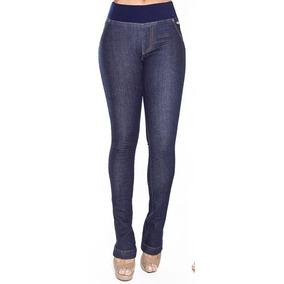 Calça Flare Jeans Cós Médio Com Elástico Canal Da Mancha