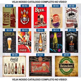 Placas Decorativas 15x20 Retrô Vintage Bar Bebidas Café
