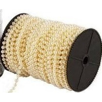 Perola Pérolas Abs De Cordao 10m Creme 6mm Altíssimo Brilho