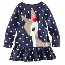 Vestido Infantil Azul Marinho Com Cervo Malha 6-7 Importado