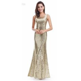 Vestido Longo Madrinha Formatura Festa Dourado Importado 196