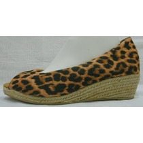 Zapatos 40 Tela Leopardo Plataforma Taco Chino Yute (ana.mar