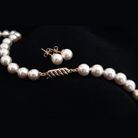 Collar Y Aretes De Perlas De Mallorca Color Blanco Elegante