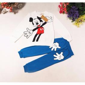 Conjunto Infantil Mickey Com Calça E Camisa Manga Comprida
