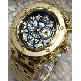 17182ea538a Relógio Masculino Dourado Com Preto Grande Pesado Barato - Relógios ...