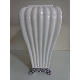 Vaso Decorativo Cerâmica Esmaltada 35 Cm Centro Mesa Branco