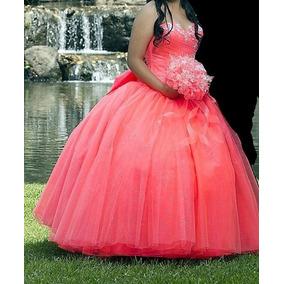 Vestido De Xv Años Coral Neon.