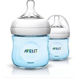 Set 2 Teteros Bebes Avent Natural 125 Ml /4 Oz Azul Rosado
