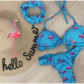 Biquini Azul De Flamingo - Calçados, Roupas e Bolsas Femininas em ... e405fdba10