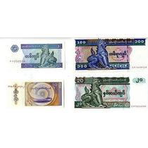 Myanmar Lote De 4 Billetes De 50 Pyas, 1,20, 100 Kyat