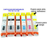 Cartuchos Recargables Canon Pixma Mg 5210 6210 Pgi125 Cli126