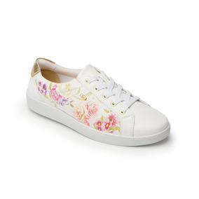 Zapato Tenis Flexi 33505 Negro Dorado Flores Flats