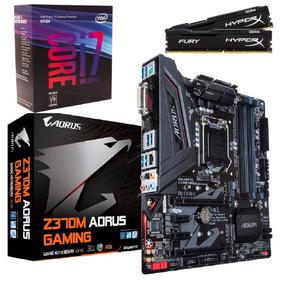 Kit Intel I7 8700k 8ªg 3,7ghz + Mb Aorus + Hyperx 16gb (2x8)
