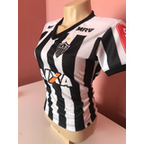 Camisa Atlético Mineiro Feminina Listrada Com Escudo Bordado