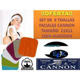 Extra-oferta - Set De 6 Toallas Faciales Cannon 100% Algodon