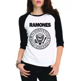 Camiseta Raglan Ramones Raglan Manga 3/4 Feminina Rock