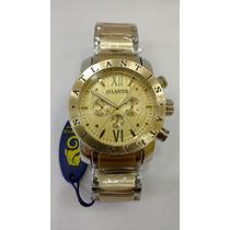 Relógio Original Atlantis Dourado Com Prata Frete Gratis