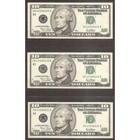 Estados Unidos Billete 10 Dólares Correlativo 3 Nuevos -19