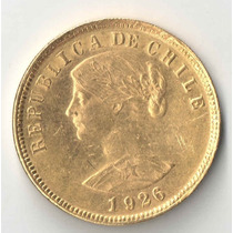 Chile 100 Pesos Ou 10 Condores Ouro 20,339 Gramas 1926 Linda