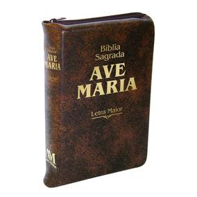 Bíblia Sagrada Ave Maria Letra Maior - Marron Ziper