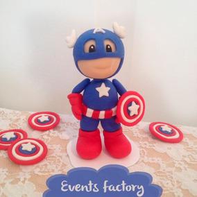 Muñeco Torta Porcelana Fria Capitan America . Cumpleaños