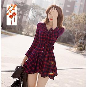Sakura Moda Asiatica Vestido Corto Asimetrico Cuadros Franel