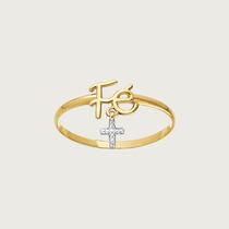Anel Fé Em Ouro 18k (750) Com Crucifixo Em Zircônias