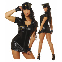 Disfraz De Policia En Vestido De Vinilo Negro