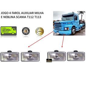 Jogo 4 Farol Auxiliar Milha Neblina Scania T112 T113 Bicudo