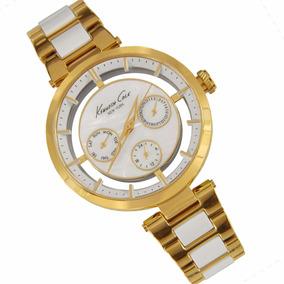 Reloj Kenneth Cole New York Dama Acero Oro Cerámica Blanco