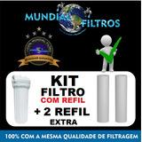 Filtro De Água +2 Refil Caixa Dágua Cavalete Entrada Maq Lav
