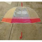 Sombrilla Transparente Roja Individual Cúpula Colores